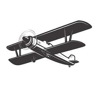 Винтажная иллюстрация самолета на белой предпосылке. элементы для логотипа, этикетки, эмблемы, знака. иллюстрация