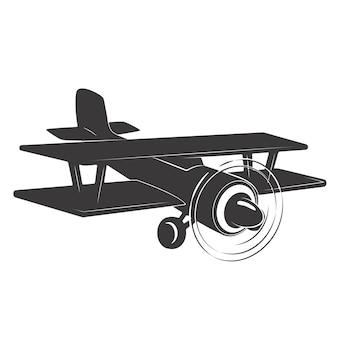 白い背景の上のヴィンテージ飛行機のイラスト。ロゴ、ラベル、エンブレム、記号の要素。図