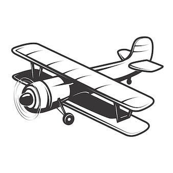 Vintage aeroplane illustration  on white background.  elements for logo, label, emblem, sign.  illustration
