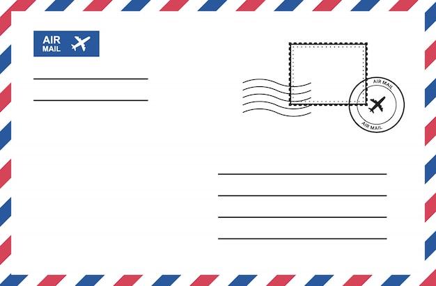 Vintage air mail envelope with postage stamp, postage card.
