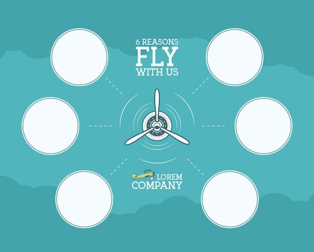 빈 형태, 통계, 비즈니스 다이어그램, 그래프, 아이콘을 위한 거품이 있는 빈티지 비행기 및 여행 인포그래픽. 프로펠러 엠블럼. 항공 브로셔, 전단지. 여행 회사 포스터 레이아웃 템플릿입니다.