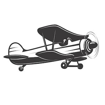 ヴィンテージ飛行機のイラスト。ロゴ、ラベル、エンブレム、記号、バッジの要素。図