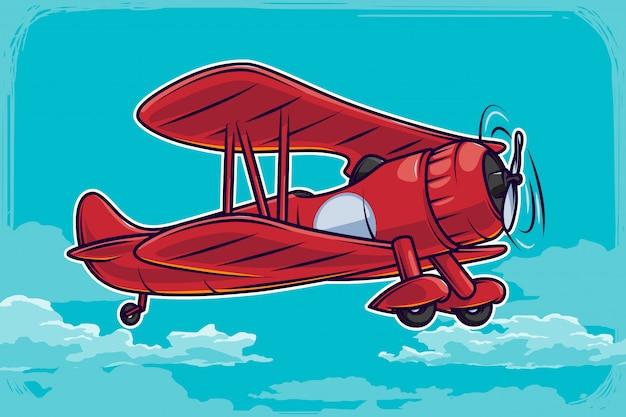 青い空とヴィンテージ飛行機イラスト