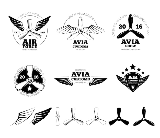 ヴィンテージ飛行機のラベル、エンブレム、シンボルセット。航空スタンプ、翼の飛行、プロペラのベクトル図