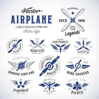 Vintage   airplane labels set with retro typography. isolated