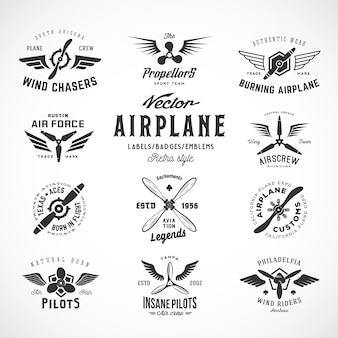Vintage airplane labels set with retro typography isolated