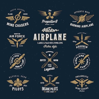 Vintage   airplane labels set with retro typography.