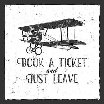 Vintage airplane typography poster. retro design on retro background