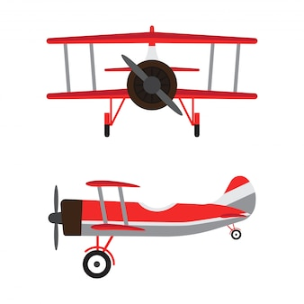 Vintage airplanes or retro aircraft cartoon models
