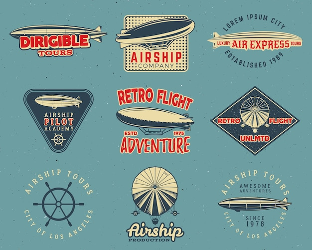Vintage airship logo designs set. retro dirigible badges collection.