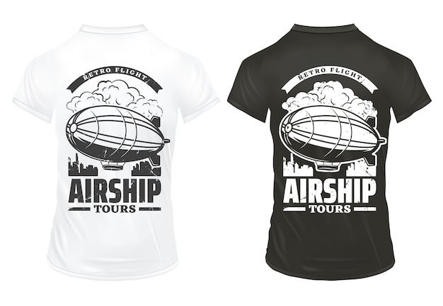 Vintage airship prints on shirts template with inscription and digirible flying over city isolated