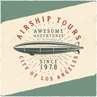 Vintage airship tee design. retro dirigible illustration