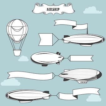 Vintage airships with greetings banner - dirigibles with advertising strip, old zeppelin