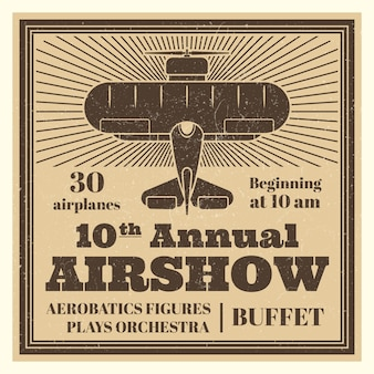 Vintage airshow poster template with airplane