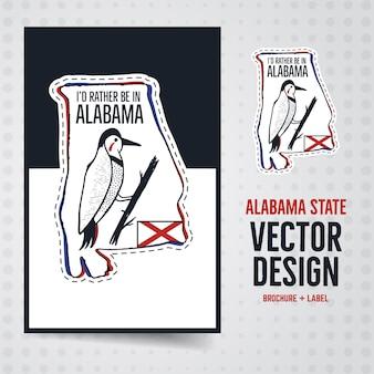 ヴィンテージアラバマバッジとパンフレットのイラストデザイン。テキスト付きの米国の州のエンブレム-私はむしろアラバマにいます。珍しいアメリカンヒップスタースタイルのパッチ。株式ベクトル。