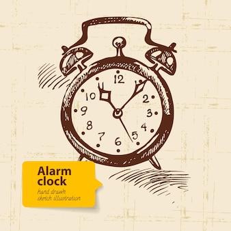 ヴィンテージ目覚まし時計。手描きイラスト