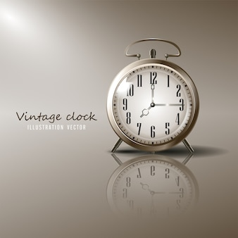 Vintage alarm clock illustration