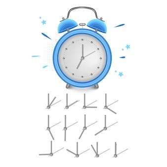 Vintage alarm clock show 7 oclock isolated on white background