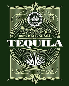 Vintage alcohol tequila drink bottle label