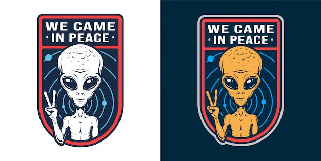 Vintage alien badge set