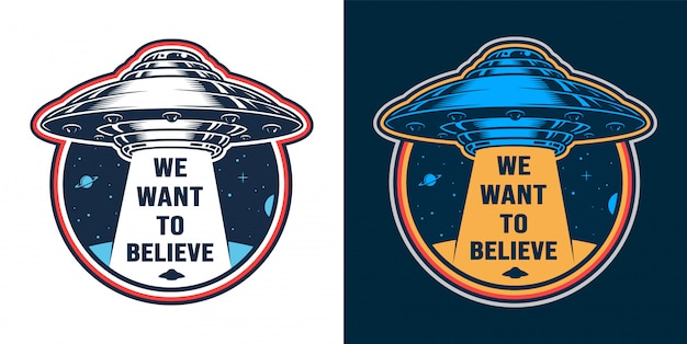 Vintage alien invasion emblem