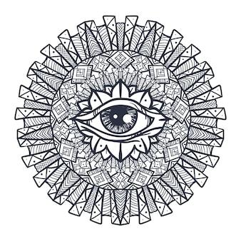 マンダラのヴィンテージオールシーイングアイ。印刷、タトゥー、塗り絵、生地、tシャツ、自由奔放に生きるスタイルの布のプロビデンス魔法のシンボル。占星術、オカルトと部族、秘教と錬金術の兆候。ベクター