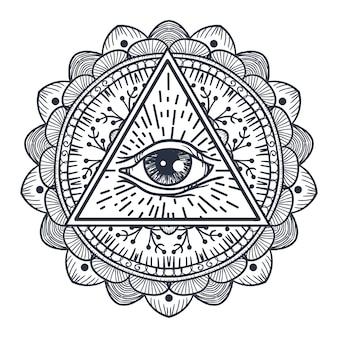 トライアングルとマンダラのヴィンテージオールシーイングアイ。自由奔放に生きるスタイルの印刷、タトゥー、塗り絵、生地、tシャツ、布のプロビデンスマジックシンボル。占星術、オカルト、部族、難解な、錬金術の記号。