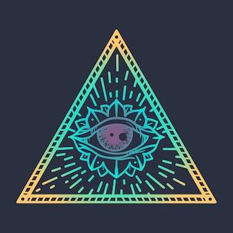 トライアングルプロビデンスの魔法のシンボルでヴィンテージオールシーイングアイ