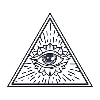 Винтаж всевидящее око в треугольнике.