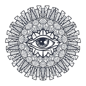 Vintage all seeing eye in mandala. providence magic symbol for print, tattoo, coloring book,fabric, t-shirt, cloth in boho style. astrology, occult and tribal, esoteric and alchemy sign. vector