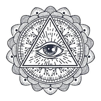 Vintage all seeing eye in triangle and mandala. providence magic symbol for print, tattoo, coloring book,fabric, t-shirt, cloth in boho style. astrology, occult, tribal, esoteric, alchemy sign.