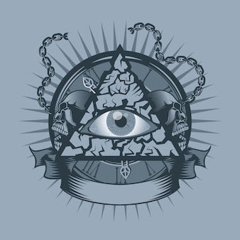 Vintage all seeing eye in triangle with watches
