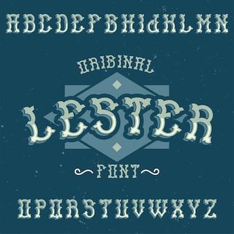 レスターという名前のヴィンテージのアルファベットとラベルの書体。