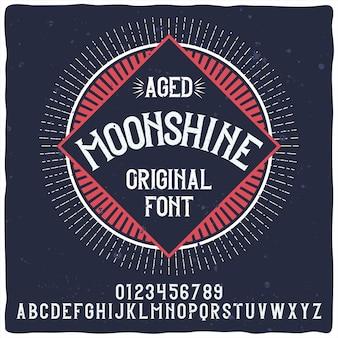 Moonshineという名前のヴィンテージのアルファベットとラベルの書体。