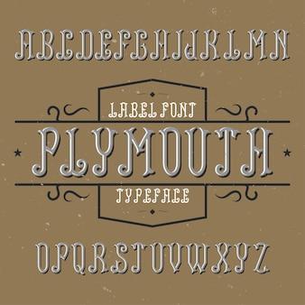 プリマスという名前のヴィンテージのアルファベットとラベルの書体。