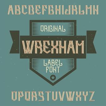 レクサムという名前のヴィンテージのアルファベットとラベルの書体。