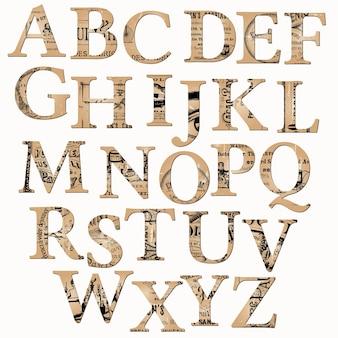 古い新聞とメモに基づくヴィンテージアルファベット
