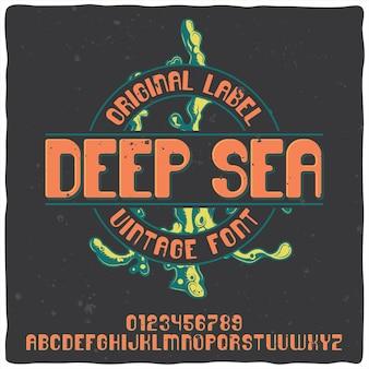 Carattere tipografico vintage di alfabeto ed emblema denominato deep sea.