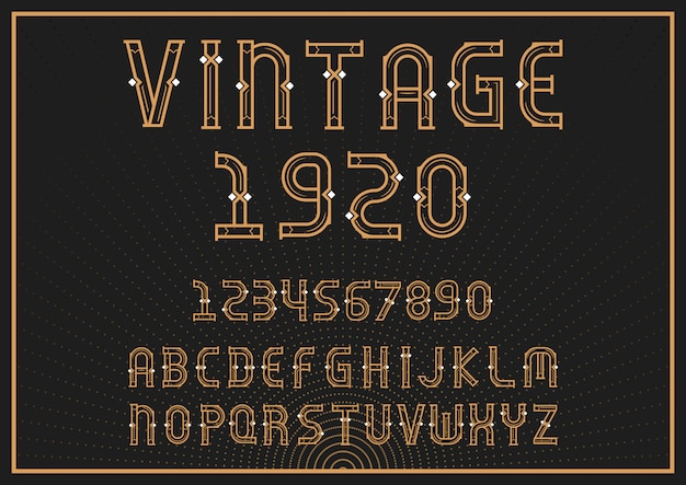 Vintage alphabet font with letters and numbers
