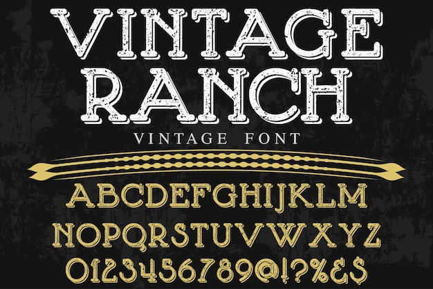 Vintage alphabet graphic style ranch