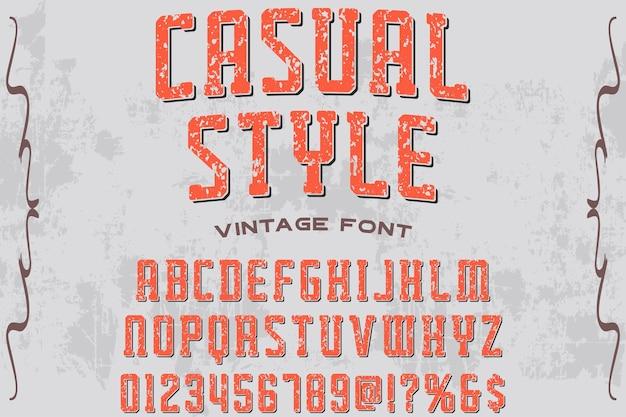 Vintage alphabet label design casual style
