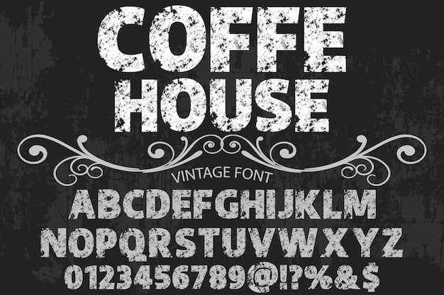 Vintage alphabet label design coffee house