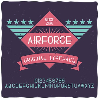 Vintage alphabet and label typeface named air force.