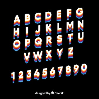 Vintage alphabet template flat design