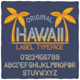 Vintage alphabet typeface named hawaii.