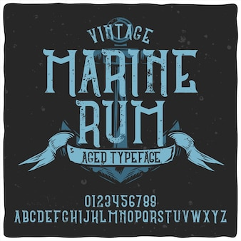 Vintage alphabet typeface named marine rum.