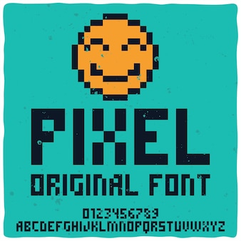 Carattere tipografico alfabeto vintage denominato pixel.