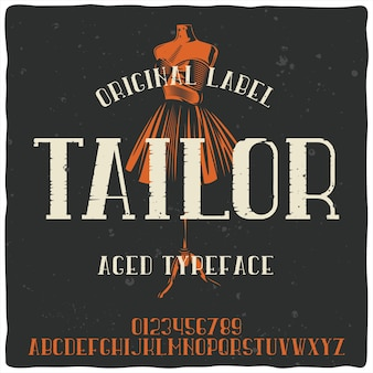 Vintage alphabet typeface named tailor and mannequin