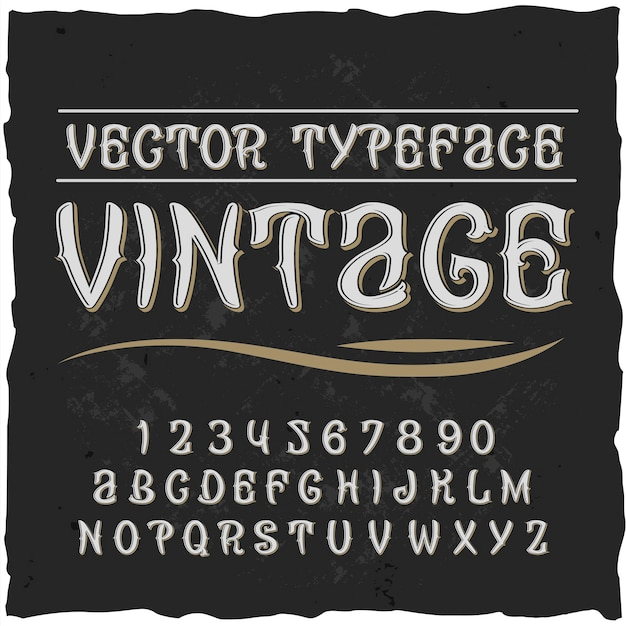 Vintage alphabet with flat ornate typeface with isolated digits and letters