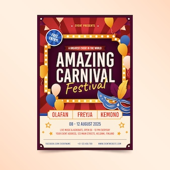 Vintage amazing carnival with mask and balloons